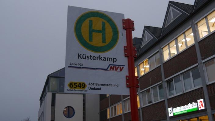 Haltestellenschild Küsterkamp Linie 6549 AST Barmstedt und Umland